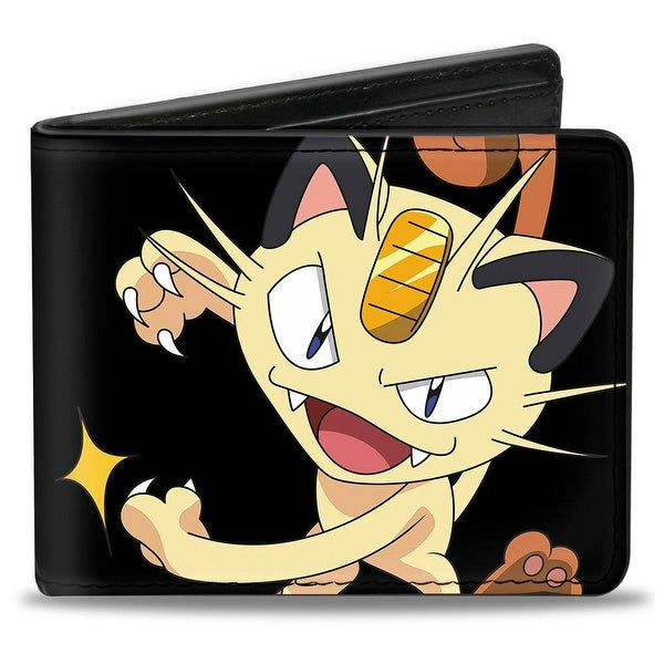 Meowth Clawing Pose4 + Meowth Blocks Black Golds Bi Fold Wallet - One Size Fits most