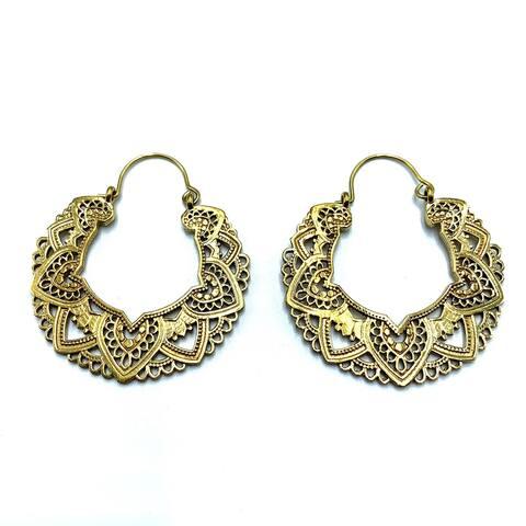 Handmade Delicate Flower Filigree Hoop Earrings for Women