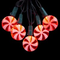 """Set of 20 Red and White Led Peppermint Candy Christmas Lights 4"""" Spacing - Green Wire - CLEAR"""