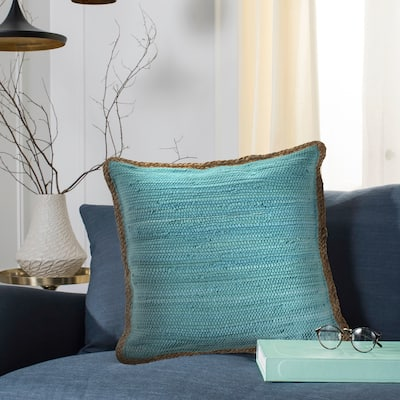 Solid Turquoise Blue Jute Bordered Throw Pillow