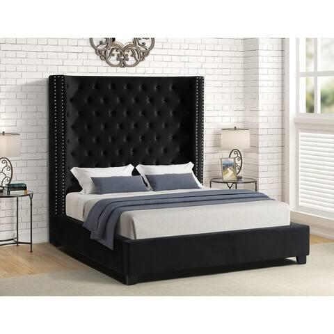 Best Master Furniture High Profile Panel Upholstered Tufted Bed