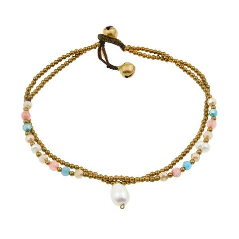 Handmade Double Strand Pearl Charm Stone and Brass Bead Jingle Bell Anklet (Thailand)