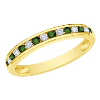 Prism Jewel 0.45CT Channel Set Green Diamond with Natural Diamond Anniversary Band