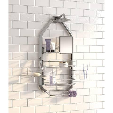 Artika CADG2-C1 O2 Adjustable Bathroom Caddy/Over-The-Shower Head/Door with Storage Shelves, Stainless-Steel