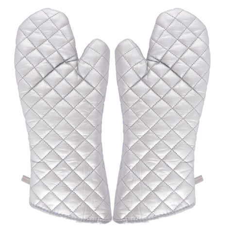 Kitchen Bakery Heat Resistance Microwave Baking Oven Mitt Gloves Silver White