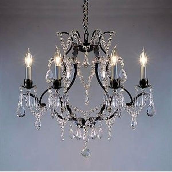 Swag Plug In Swarovski Crystal Trimmed Wrought Iron Chandelier Lighting
