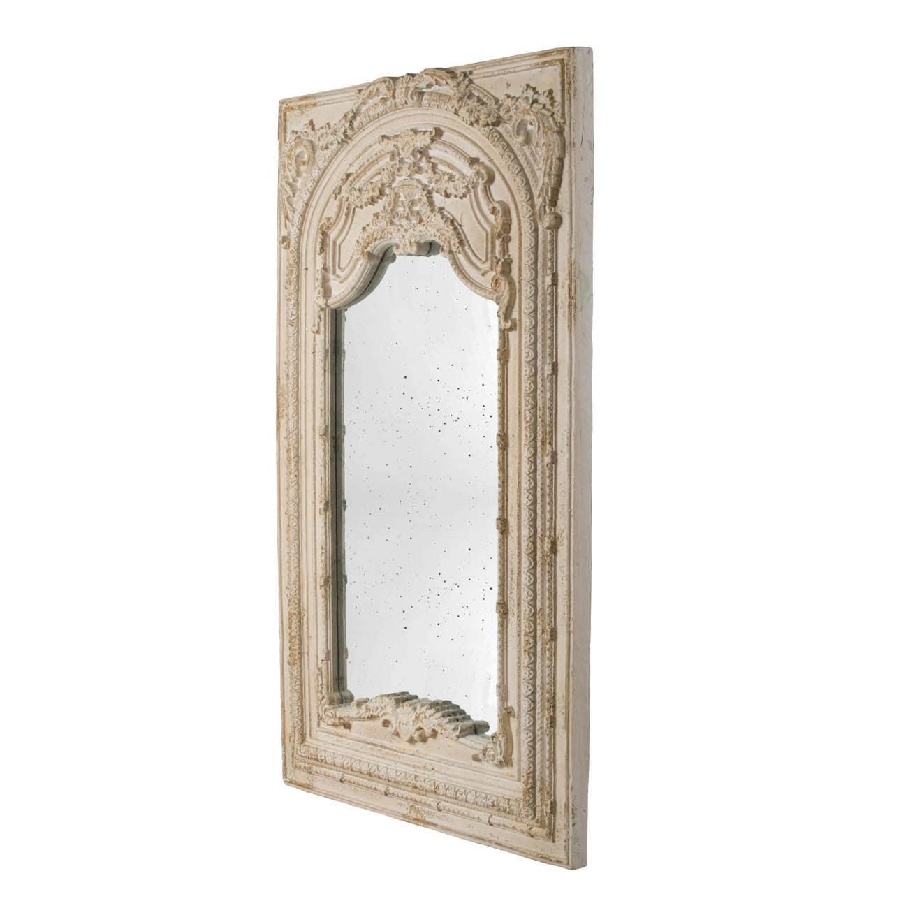Antique White 73 Inch Scroll Fauna Floor Mirror Overstock 29665169