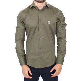 Cavalli Green stretch cotton shirt - S