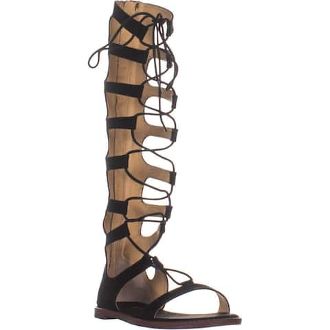 b228e899d145c Chinese Laundry Galactic Tall Lace Up Gladiator Sandals, Black Micro Seude