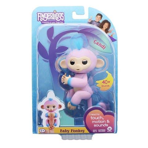 WowWee Fingerlings Interactive Baby Monkey Toy: Candi (Pink & Blue) - Multi