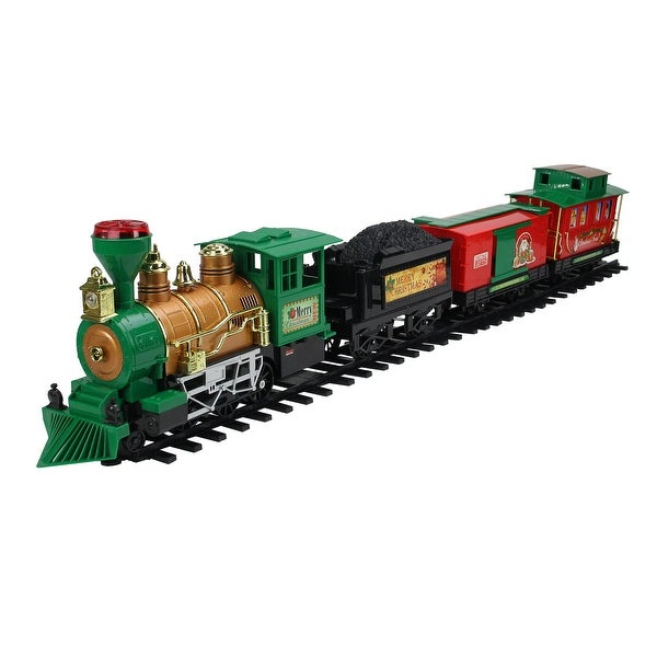 20-Piece B/O Lighted & Animated Christmas Express Train Set with Sound - RED