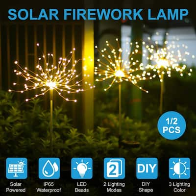 90 LED Solar Lawn Light 2 Lighting Modes Light Control, for Outdoor Garden Path Lawn Lamp,Warm white,1/2 Pcs