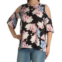 Womens Black Floral Short Sleeve Crew Neck Casual Top  Size  M