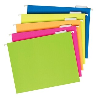 Pendaflex Glow Hanging File Folders, 5 Tab, Assorted Colors, Pack of 25