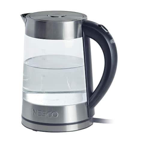 Nesco GWK-02 Electric Glass Water Kettle, 1.8 Liter, Silver