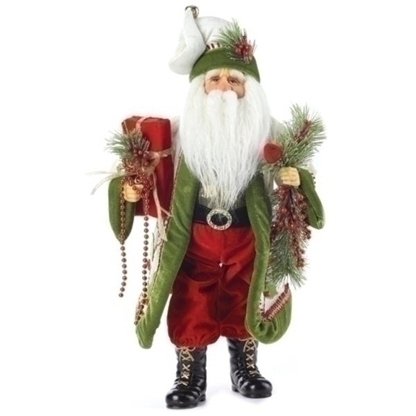 "20"" Green and Red Santa Claus with Garland & Cardinal Christmas Table Top Figure"