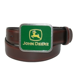John Deere Boys' Leather Belt with Deere Plaque Removable Buckle - Brown