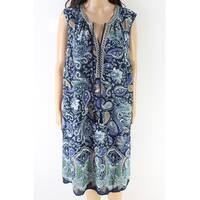 DR2 Blue Women's Size 2X Plus Paisley Print V-Neck Shift Dress