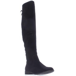 XOXO Trish Over The Knee Back Lace Boots, Black