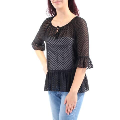 KENSIE Womens Black Chevron 3/4 Sleeve Jewel Neck Peplum Top Size: M
