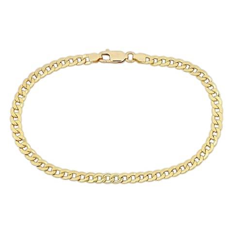 "Miadora 8"" 4mm Flat Curb Link Golden Bracelet in 18k Yellow Gold"