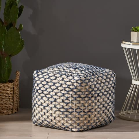 Arya Boho Wool and Cotton Pouf by Christopher Knight Home