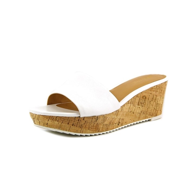 Nine West Confetty Women Open Toe Leather White Slides Sandal