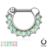 Opalites Paved 316L Surgical Steel Septum Clicker Ring (Sold Indiv.)