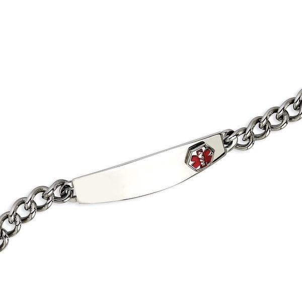 Chisel Stainless Steel Polished with Red Enamel 8.5 Inch Medical Bracelet