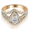 1.15 cttw. 14K Rose Gold Halo Pear Cut Diamond Engagement Diamond Ring - Thumbnail 0