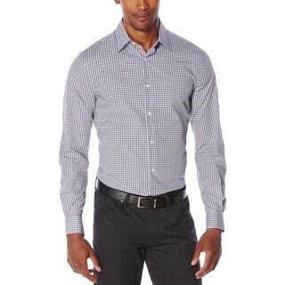 Perry Ellis Mens Button-Down Shirt Double Checkered Non Iron