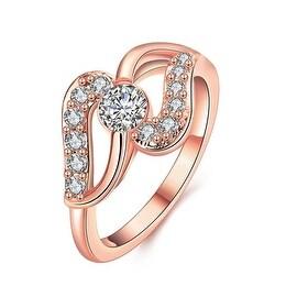 Rose Gold Zig-Zag Crystal Ring
