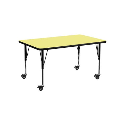 """Offex 24""""W x 48""""L Mobile Rectangular Activity Table with Yellow Thermal Fused Laminate Top and Height Adjustable Pre-School Leg"""