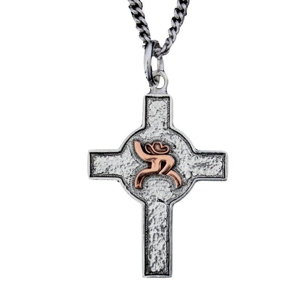 HOOey Western Necklace Womens Hammered Silver Cross Roughy HY316-004