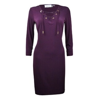 Calvin Klein Women's Lace Up Neckline Shift Jersey Dress