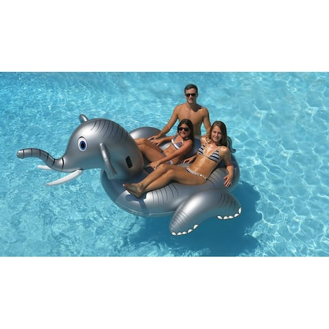 "64"" Inflatable Gray Giant Elephant Swimming Pool Ride-On Lounge"