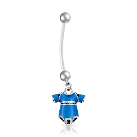 Bioflex Blue Enamel Onesie Pregnant Belly Button Ring Steel