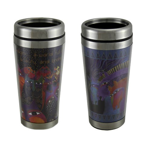 Laurel Burch Fantasticats & Wild Horses of Fire 16 Oz. Travel Mug Set of 2 - 7.25 X 3.25 X 3.25 inches