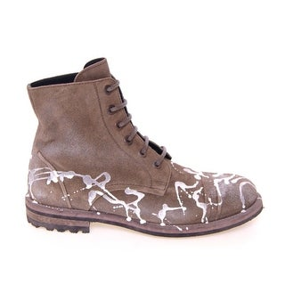 Dolce & Gabbana Beige Leather Paint Boots Shoes - 40.5