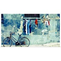 Poster Print entitled Laundry and a bike in Beijing's hutong - multi-color