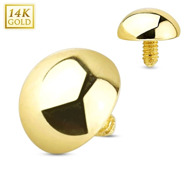14 Karat Solid Gold Dome Internally Threaded Dermal Anchor Top (Sold Individually)