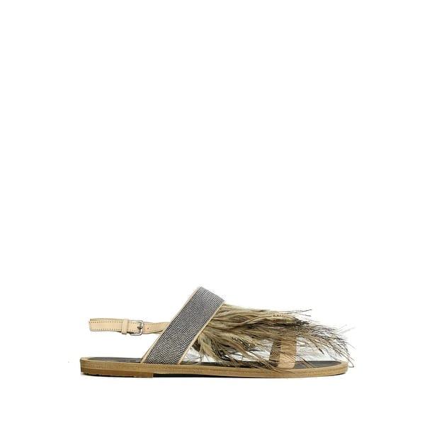 bfb4237cd16b7 Brunello Cucinelli Womens Nude Monilli Feather Flat Sandals 37/7 RTL$1200