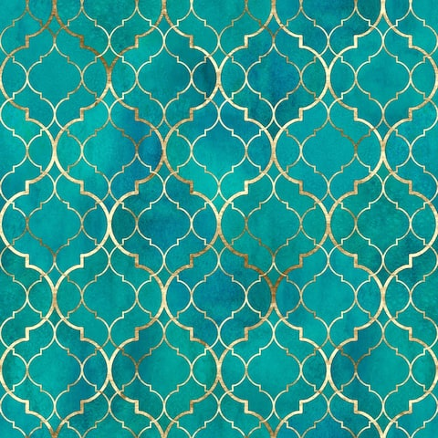 Moroccan Texture with Gold Line Removable Wallpaper - 24'' inch x 10'ft