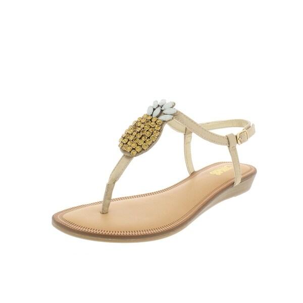 Carlos by Carlos Santana Womens Tropical T-Strap Sandals Pineapple Demi Wedge