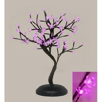 "18"" Asian Fusion Battery Operated LED Lighted Bonsai Floral Blossom Tree - Pink"