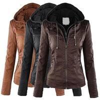 Women Casual Long Sleeve Slim Hooded Coat Jacket Winter Warm Zipper Outwear