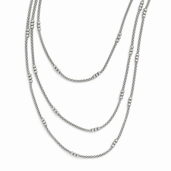 Italian Sterling Silver Textured Three Strand Necklace - 16.5 inches