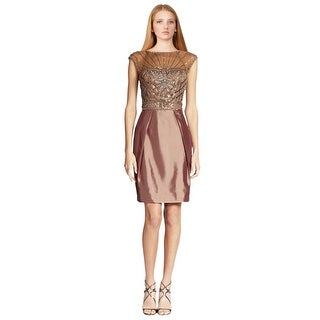 Sue Wong Pleated Illusion Yoke Beaded Cap Sleeve Cocktail Dress - 12