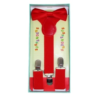 CTM® Infant or Kids' Solid Color Bow Tie and Suspender Set