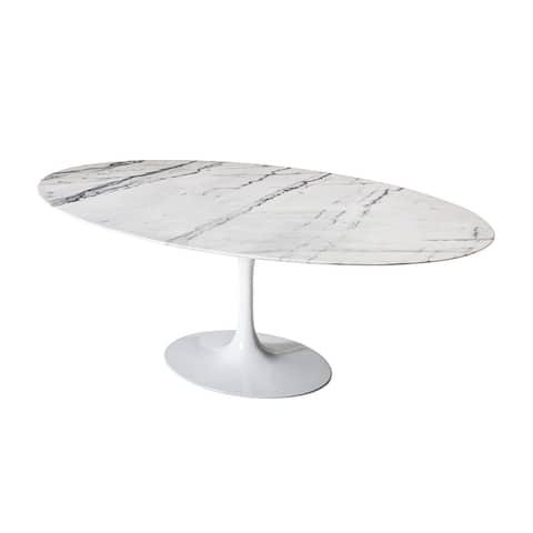 "Saarinen Style Tulip Marble Dining Table, 60"" Oval - White Base"